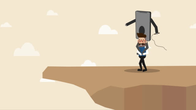 smart phone is controlling businessman to walk to the edge of the cliff (concept cartoon of social issue) - pressure point stock videos & royalty-free footage