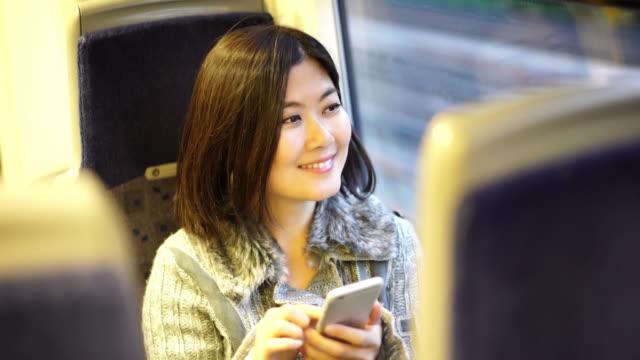 Smart phone on a train.