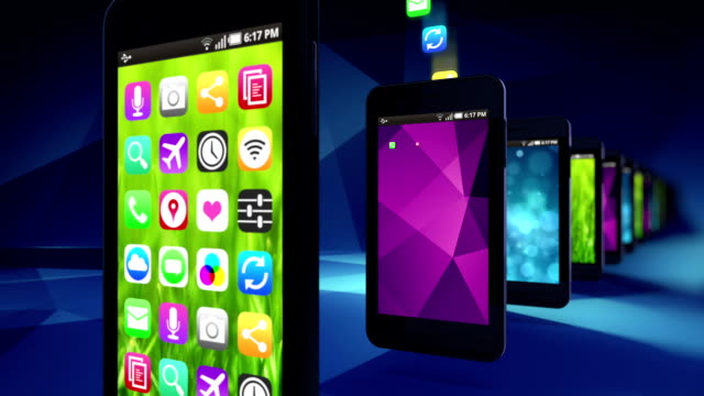 smart phones load apps. loop. - mobile app stock videos & royalty-free footage