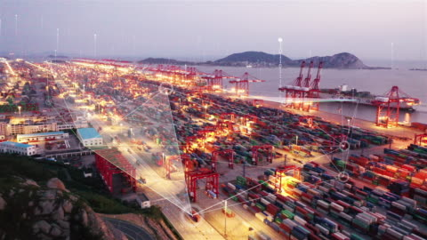smart port - freight transportation stock videos & royalty-free footage