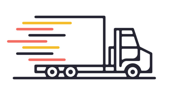 Smart Truck Technology Line Icon Animation with Alpha