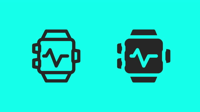 Smart Watch Heart Rate Monitor Icons - Vector Animate