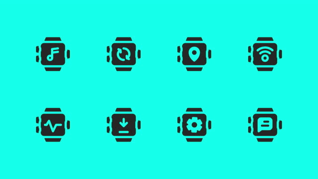 smart watch icons - vector animate - global communications vector stock videos & royalty-free footage