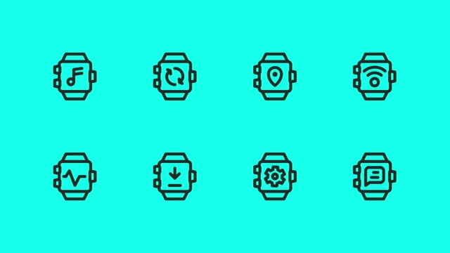 smart watch line icons - vector animate - global communications vector stock videos & royalty-free footage