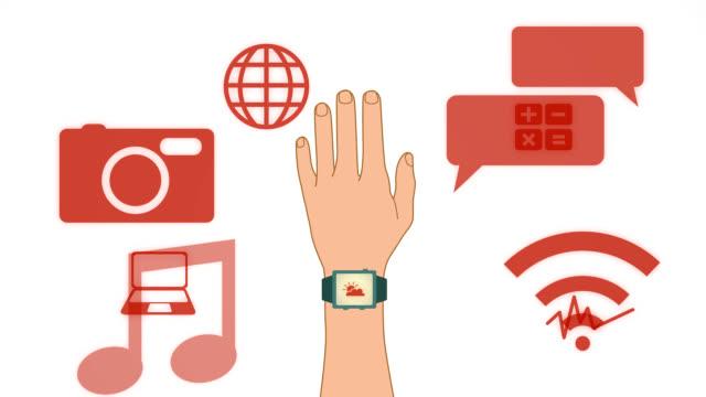 vidéos et rushes de montre intelligente avec applications - groupe d'objets
