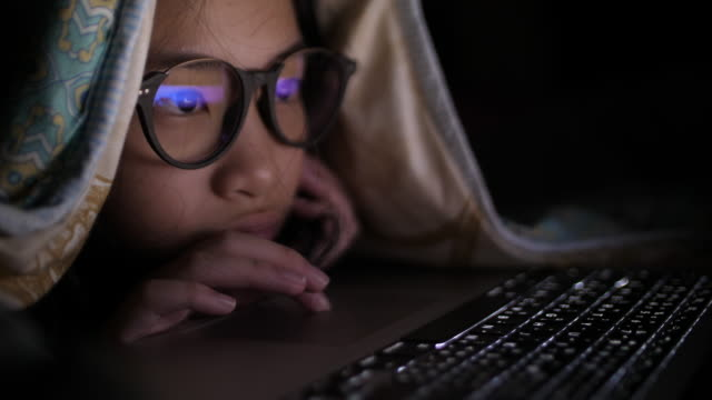 smart young girl in her bedroom at night - studying stock videos & royalty-free footage