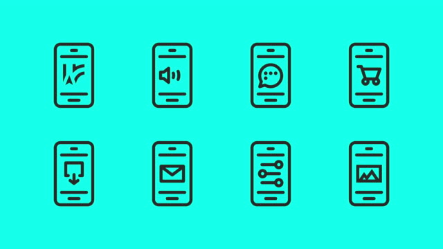 smartphone icons set 2 - vector animate - oggetto creato dall'uomo video stock e b–roll