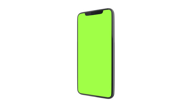 smartphone mockup with green chroma key screen on white background. - model object stock videos & royalty-free footage