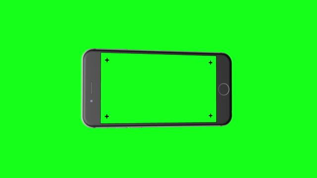 3D Smartphone (landscape orientation) rotates on Chroma Key Green BG