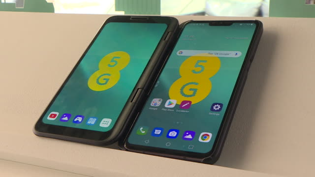 5G smartphones on display in EE shop