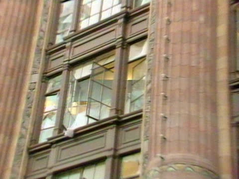 Smashed windows are visible following the IRA car bomb attack outside the Harrods department store 1983