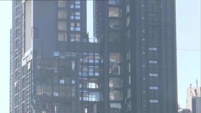 smashed windows on skyscraper caused by the massive explosion at beirut port, lebanon - stato di emergenza video stock e b–roll