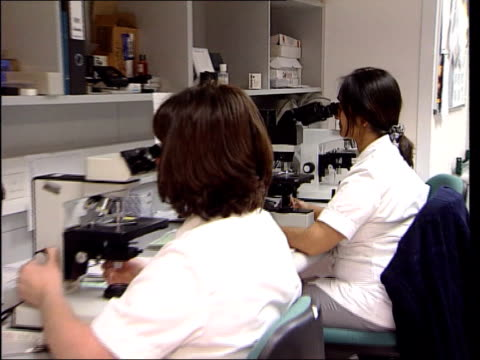 vídeos de stock, filmes e b-roll de fears over spatula used itn woman looking into microscope pull out others examining cervical smear tests for signs of precancerous cells cs cells... - espátula