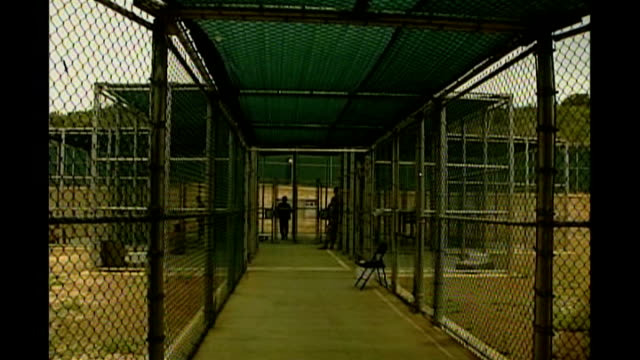 smears guantanamo bay detainees requested by britain; r12090610 cuba: guantanamo bay naval base: camp delta: ext wire cages and walkway detainees'... - guantanamo bay stock videos & royalty-free footage