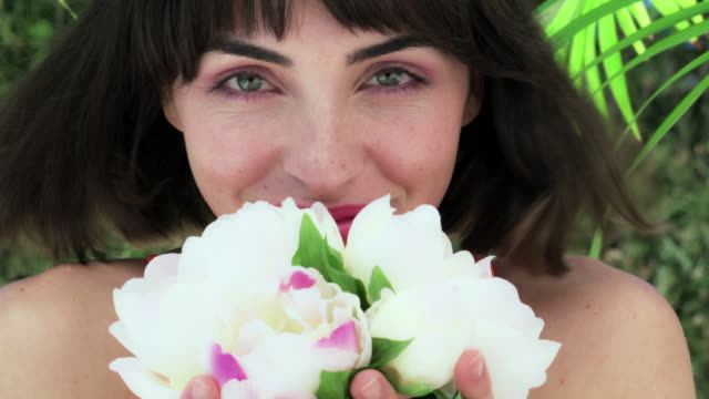 smelling flowers - bangs stock videos & royalty-free footage