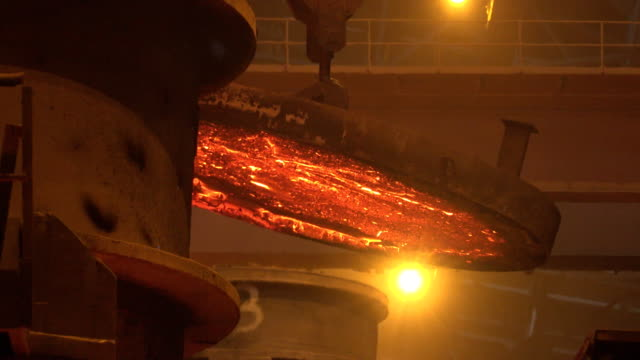 smelting metal at metallurgical factory floor - furnace stock videos & royalty-free footage
