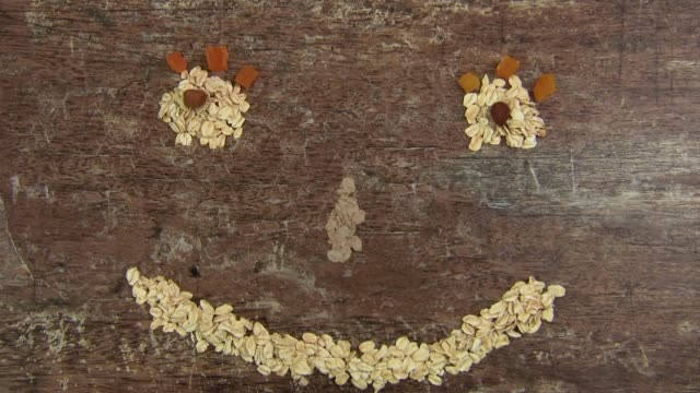 smile made of oatmeal - oatmeal stock videos & royalty-free footage