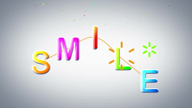 smile word - isolated colour stock videos & royalty-free footage