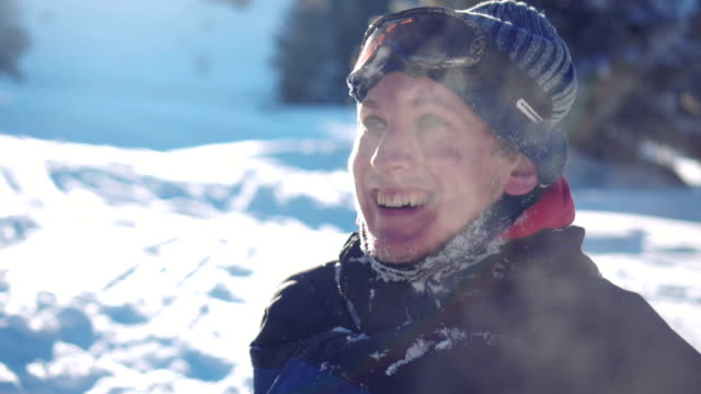 smiled sknowboarder - winter video stock e b–roll