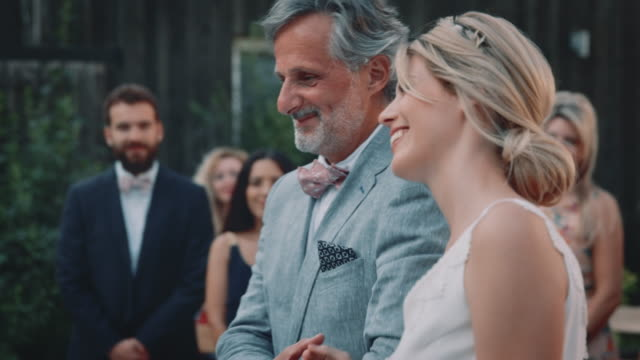 smiling bride and father towards bridegroom - adult offspring stock videos & royalty-free footage
