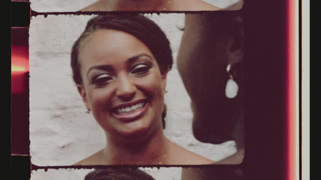 vídeos y material grabado en eventos de stock de cu smiling bride talks to her matron of honor - novia relación humana