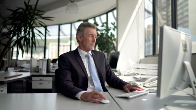 Smiling businessman using computer at desk