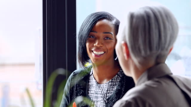 MS Smiling businesswoman in meeting with colleague in office