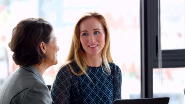 vídeos y material grabado en eventos de stock de ms smiling businesswomen meeting in office conference room - compromiso de los empleados
