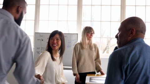ts smiling client shaking hands with businesswomen in design office - positive emotion stock videos & royalty-free footage