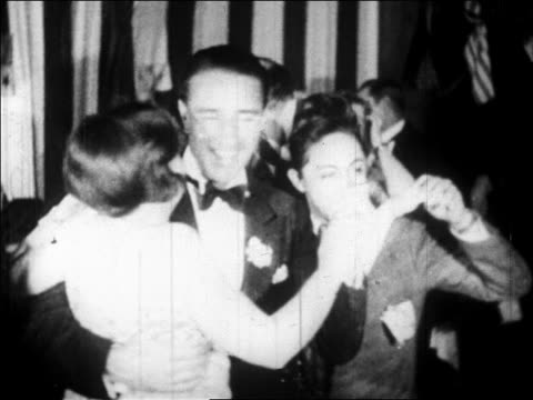b/w 1928 smiling couples dancing in villa vallee nightclub / nyc / newsreel - high society stock videos & royalty-free footage