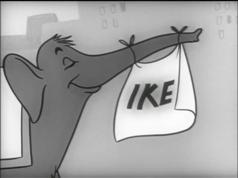 vídeos de stock e filmes b-roll de animation smiling elephant with ike banner tied to nose marches / tv commercial - prelinger archive