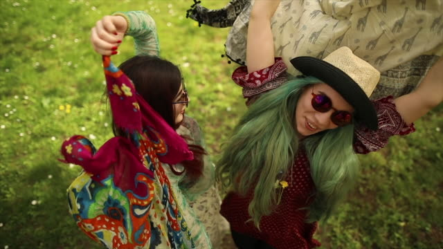smiling faces of hippie female friends - hippy video stock e b–roll
