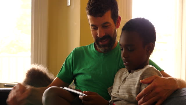 ms smiling father and son seated on couch in living room looking at digital tablet - genderblend stock videos & royalty-free footage