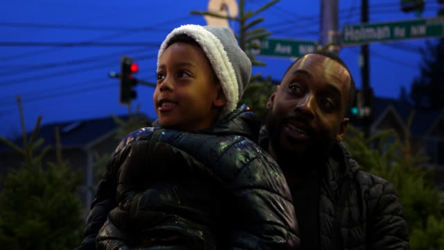 ms smiling father holding up son while shopping for christmas trees - genderblend stock videos & royalty-free footage