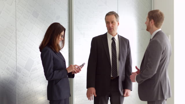 ms smiling female business executive meeting with colleagues in office lobby looking at information on smartphone - coworker stock videos & royalty-free footage