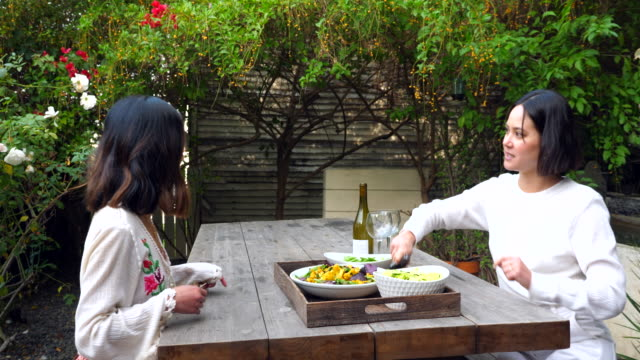 ms ts smiling female friends carrying food and wine to backyard table for outdoor meal - korean ethnicity stock videos & royalty-free footage