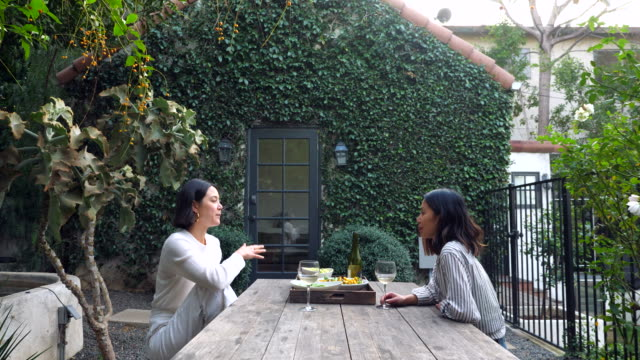 ms smiling female friends hanging out at table in backyard - two people stock videos & royalty-free footage