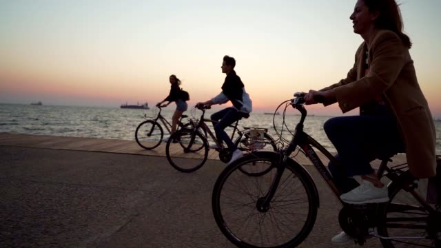Smiling friends cycling by the sea