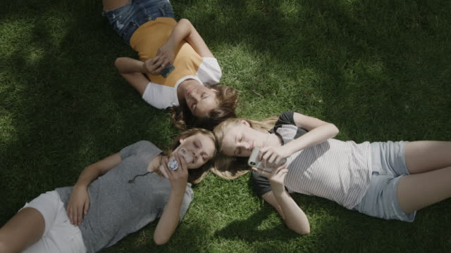 vídeos de stock e filmes b-roll de smiling girls laying head to head on grass using cell phones / provo, utah, united states - provo