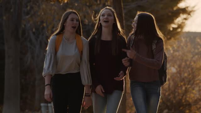 smiling girls wearing backpacks approaching and talking / cedar hills, utah, united states - rucksack stock videos & royalty-free footage