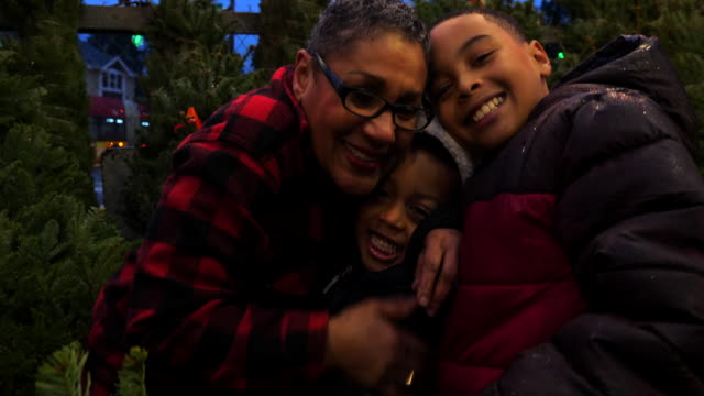 ms smiling grandmother hugging grandsons while shopping for christmas tree - tree hugging stock videos & royalty-free footage