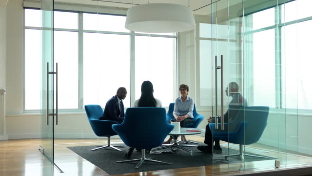 MS Smiling group of businesspeople discussing project in office conference room