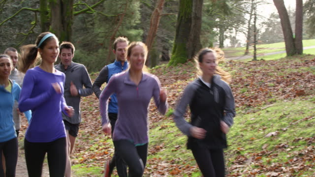 ms pan smiling group of friends running on trail in park - public park stock-videos und b-roll-filmmaterial