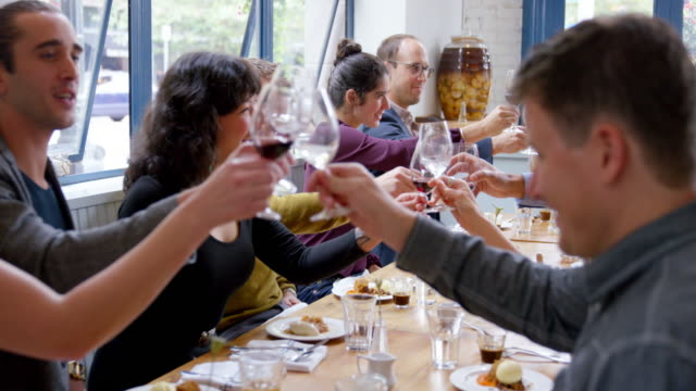 MS R/F smiling group of friends toasting at dinner party in restaurant