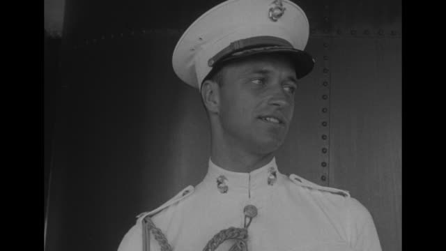 cu smiling handsome young marine officer james roosevelt son of franklin delano roosevelt / ms two naval officers stand together and talk and laugh... - west indies stock videos & royalty-free footage