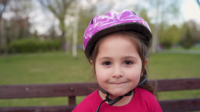 smiling happy girl - sports helmet stock videos & royalty-free footage