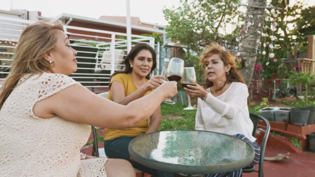 smiling hispanic women in their 50s toast with beer and wine - hialeah stock videos & royalty-free footage