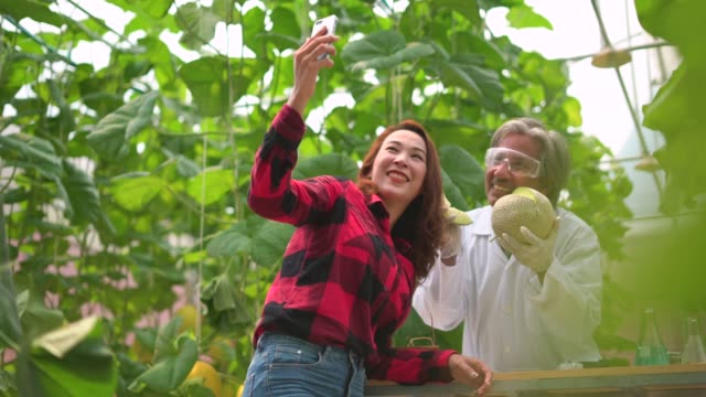 A smiling male scientist and female worker taking selfie on mobile phone in the farm