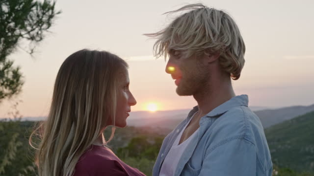 smiling man embracing girlfriend during sunset - face to face stock videos & royalty-free footage