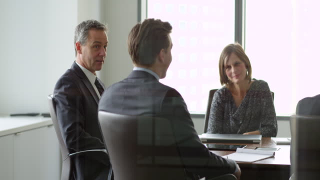 MS Smiling mature businessman leading discussion with colleagues during meeting in office conference room